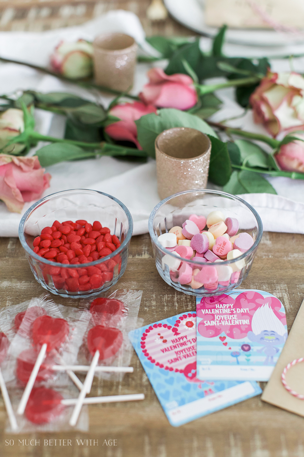 Valentine's Day Kraft Treat Bags / candies on table - So Much Better With Age