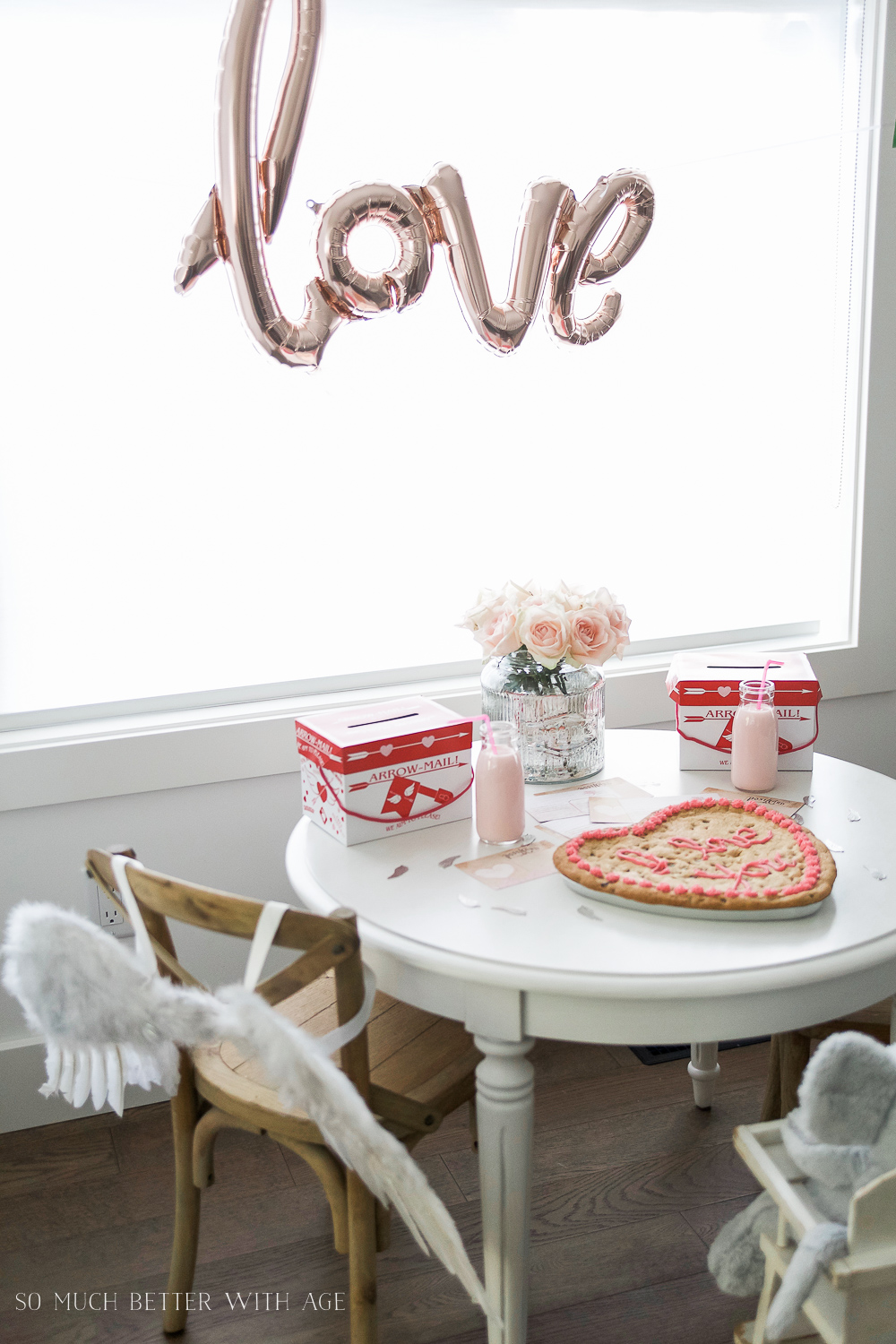 Valentine's Day Kids' Table, LOVE Balloon and Angel Wings, Heart Cookie