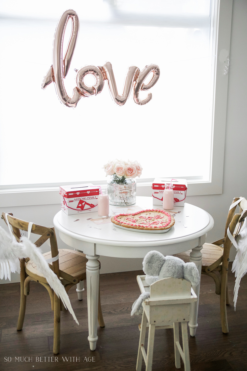 Valentine's Day Kids' Table, LOVE Balloon and Angel Wings
