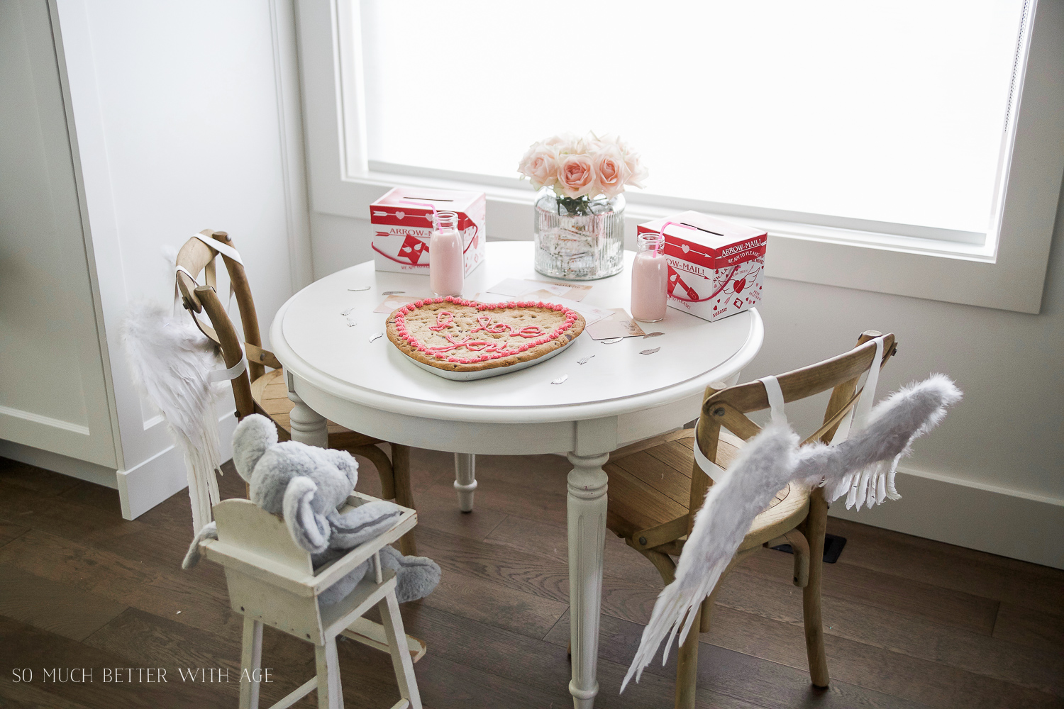 Valentine's Day Kids' Table / angel wings on chair - So Much Better With Age
