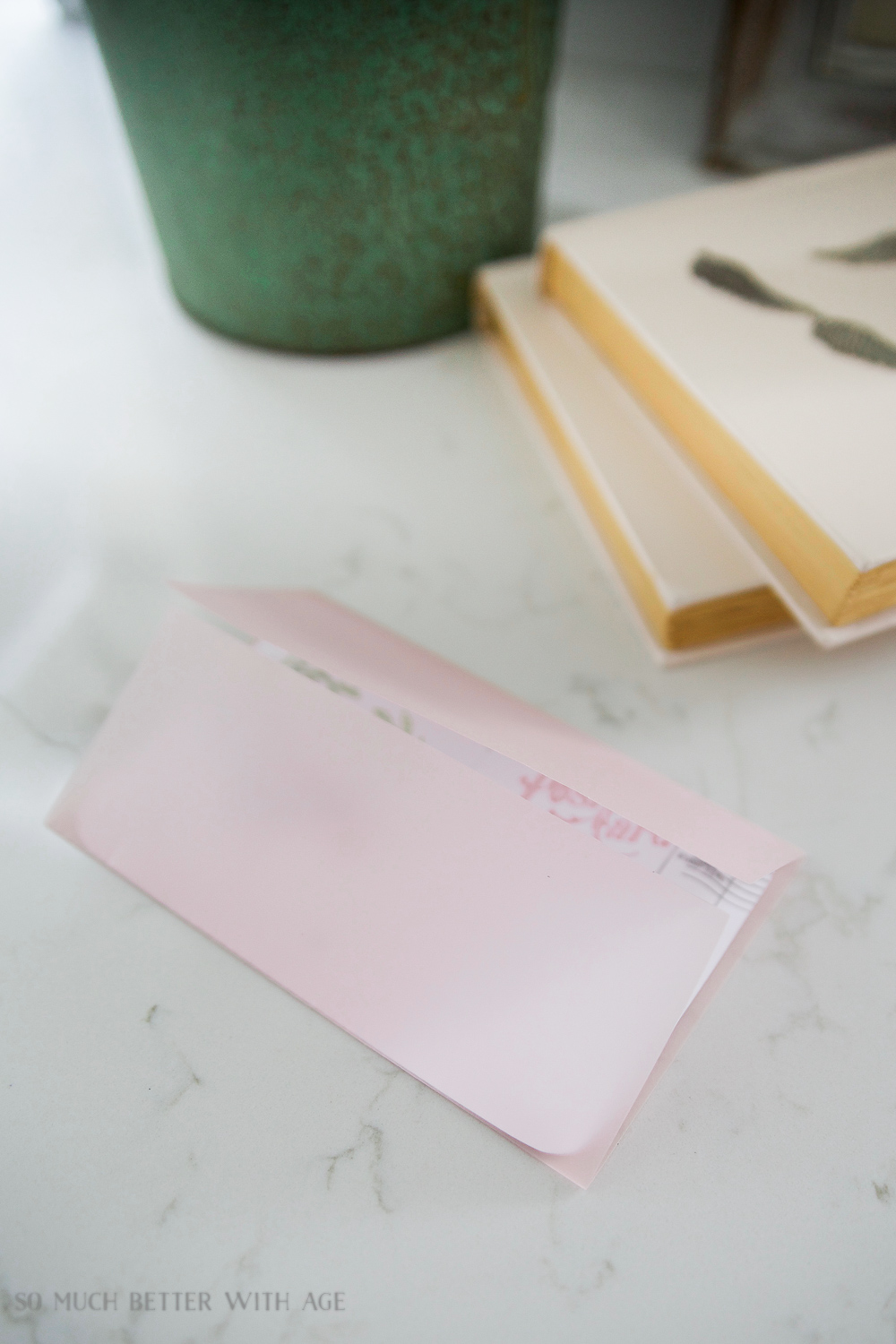Valentine's Day Free Postcard Printables/Download with DIY Vellum Envelope / cutting the excess paper - So Much Better With Age