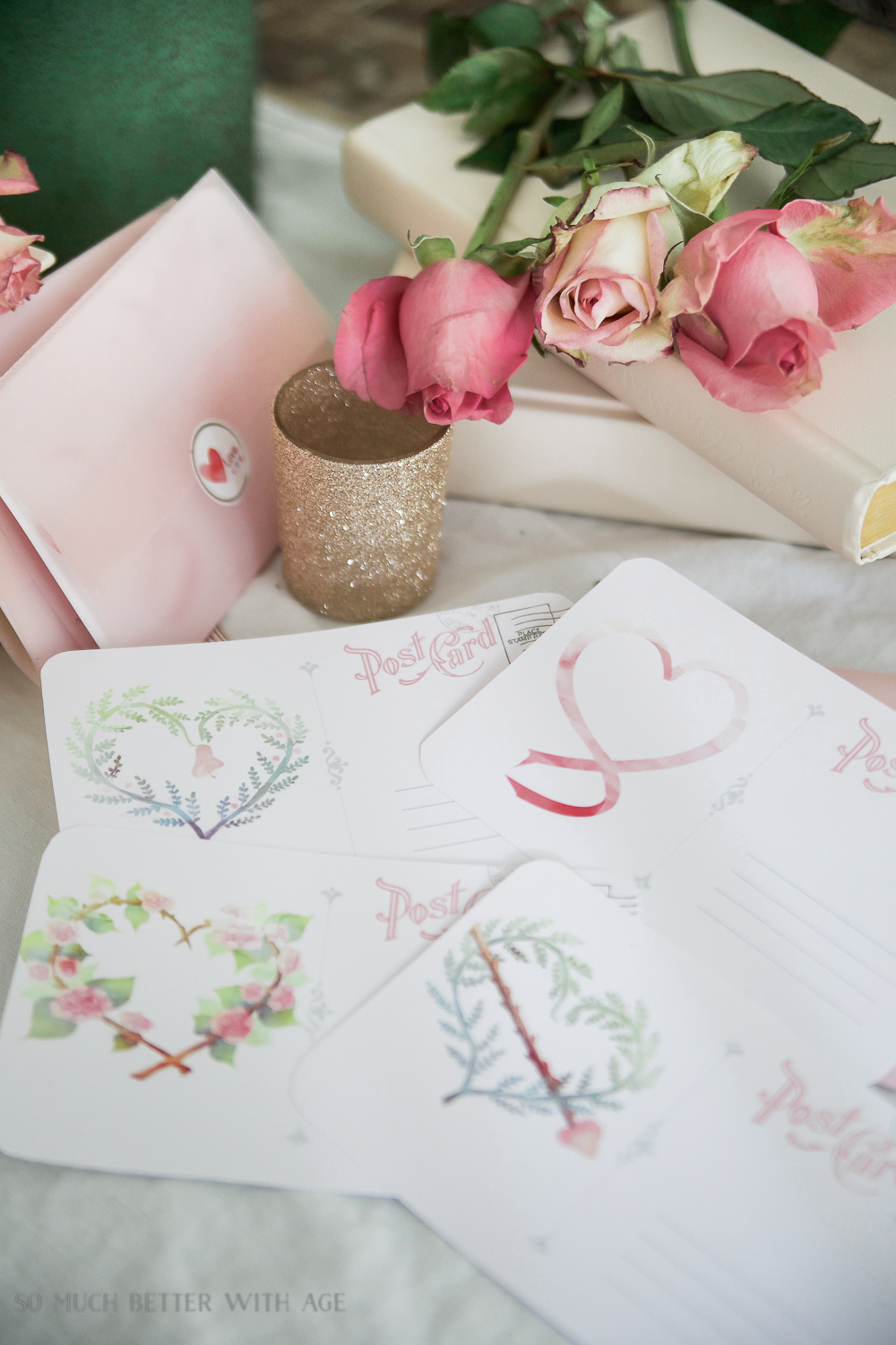 Valentine's Day Free Postcard Printables/Download with DIY Vellum Envelope - So Much Better With Age