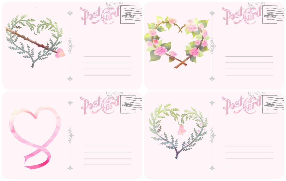 photo relating to Printable Postcards Free identified as Valentines Working day Free of charge Postcard Printable with Vellum Envelope