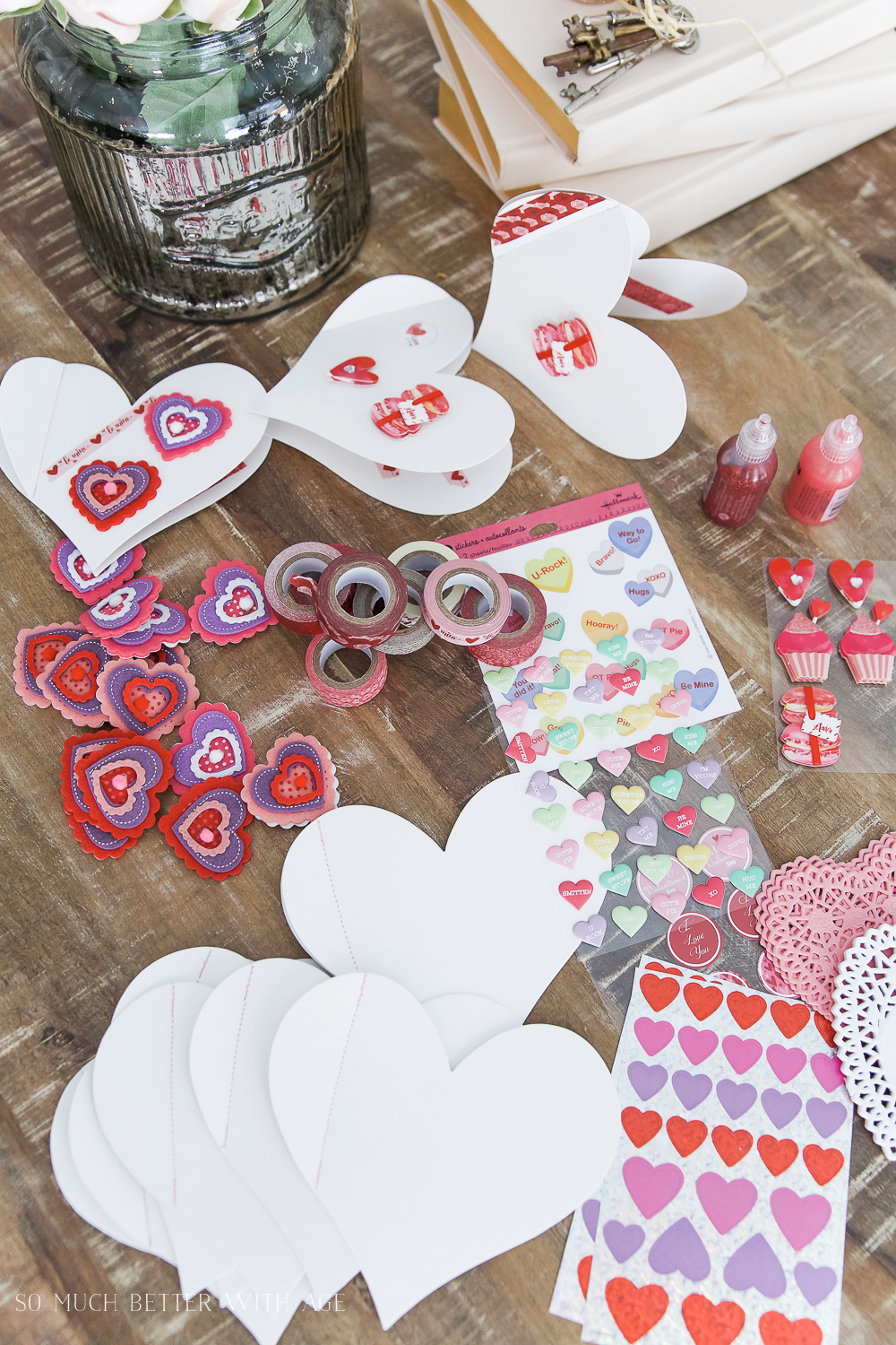 DIY stitched Valentine's Day cards / supplies on table to make the cards - So Much Better With Age