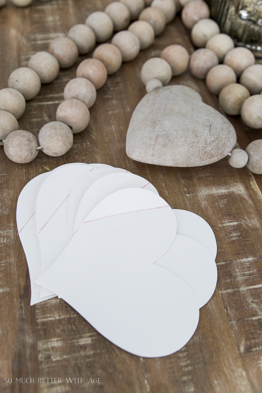 DIY stitched Valentine's Day cards / wooden heart - So Much Better With Age