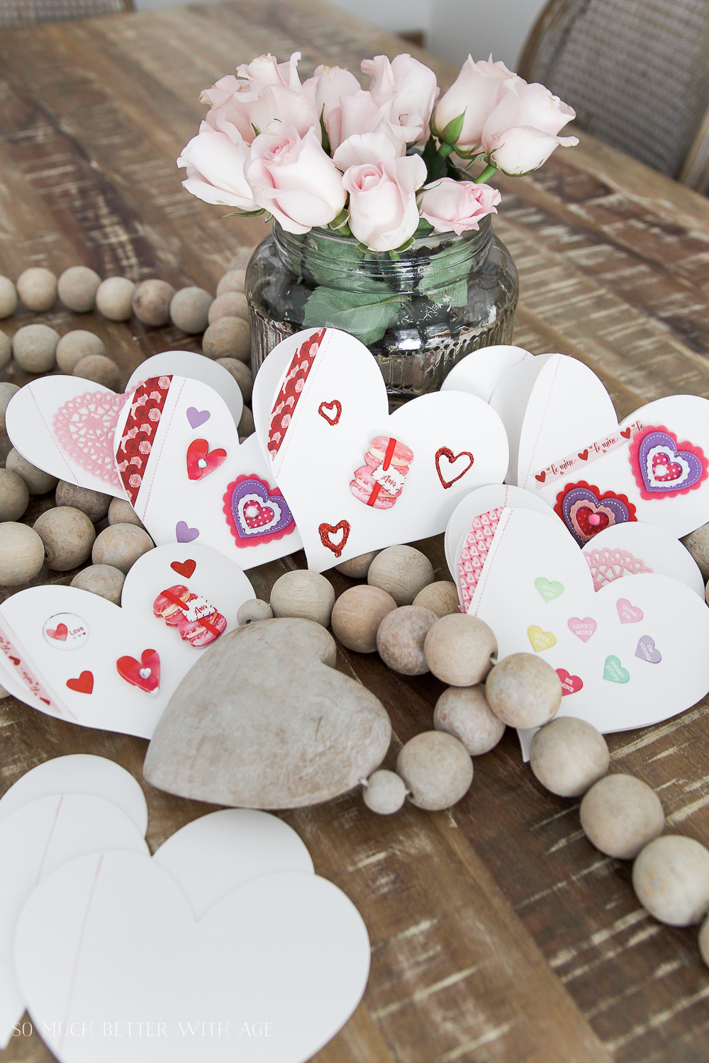 DIY stitched Valentine's Day cards / decorated heart cards - So Much Better With Age