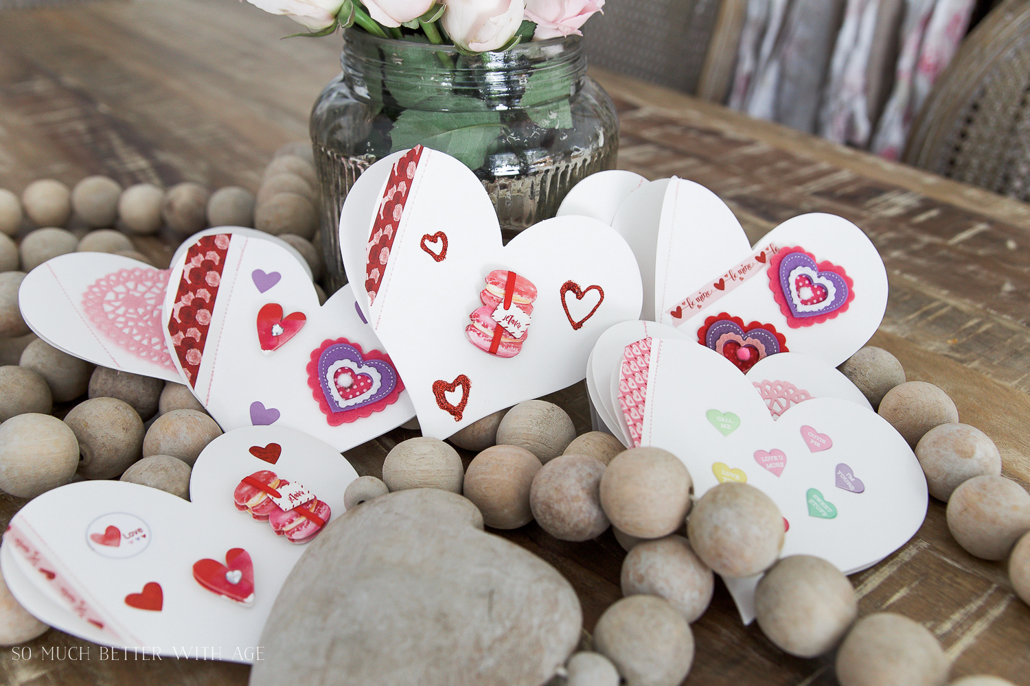 DIY stitched Valentine's Day cards / decorated cards with wooden heart on table - So Much Better With Age