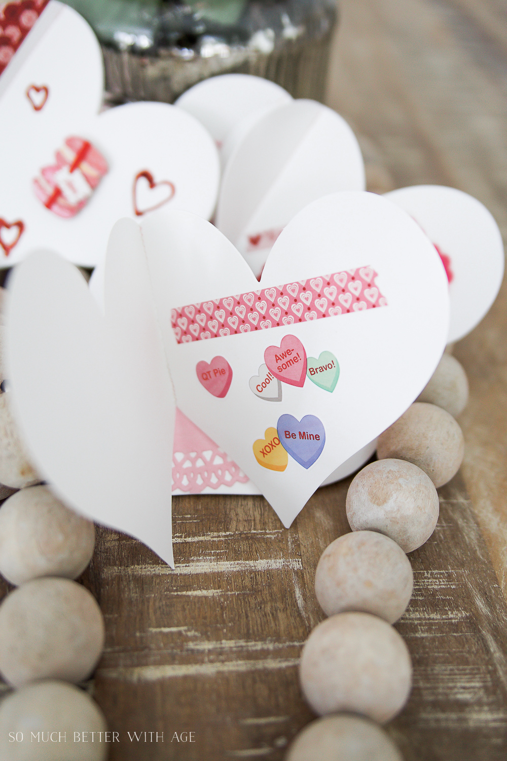DIY stitched Valentine's Day cards / cute stickers on cards - So Much Better With Age