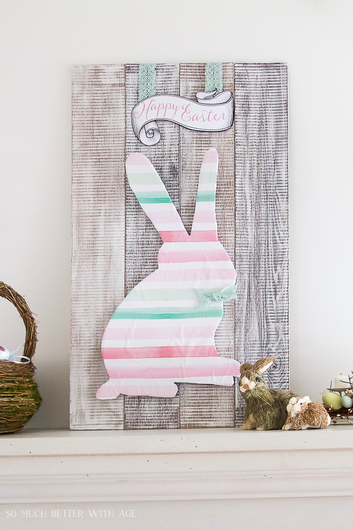 DIY Pallet Sign with Stain and Drywall Mud/whitewashed sign with Easter bunny - So Much Better With Age