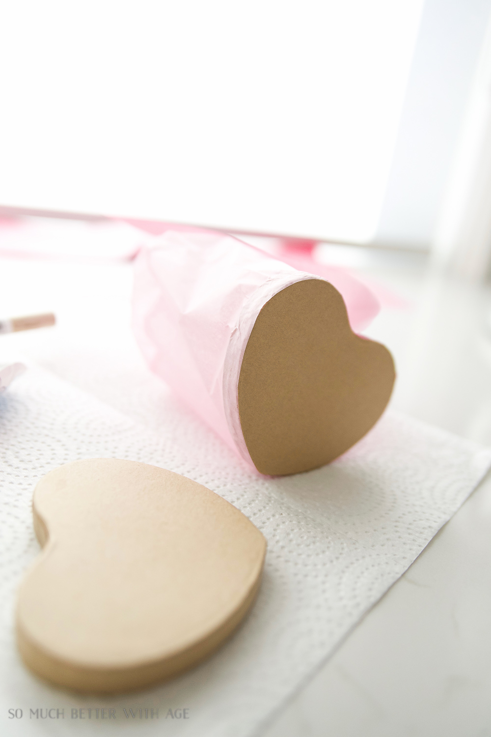 DIY ruffled ombre tissue heart box for Valentine's Day