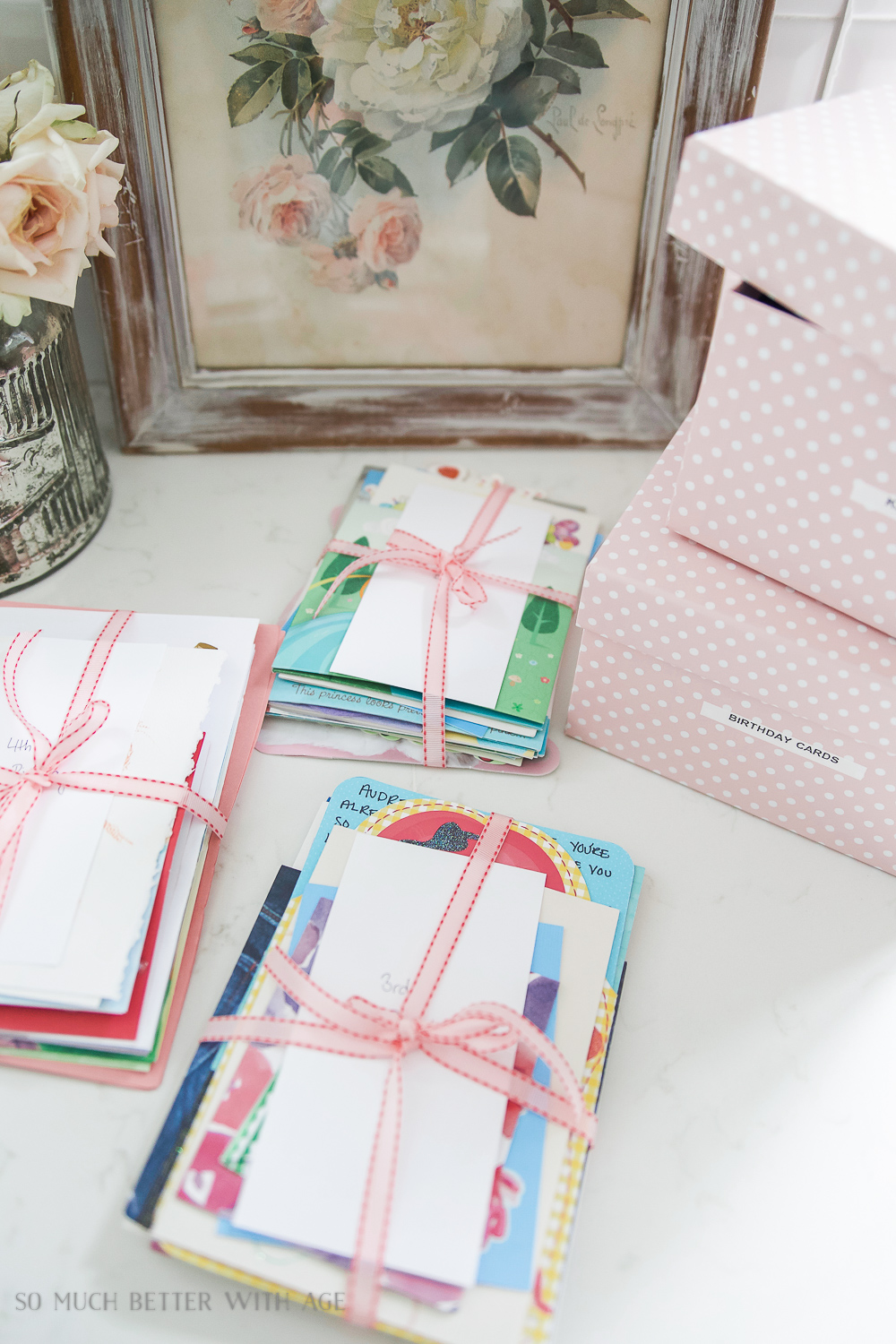 Organizing Kids Keepsakes (Birthday Cards) Printable/pretty wrapped cards - So Much Better With Age