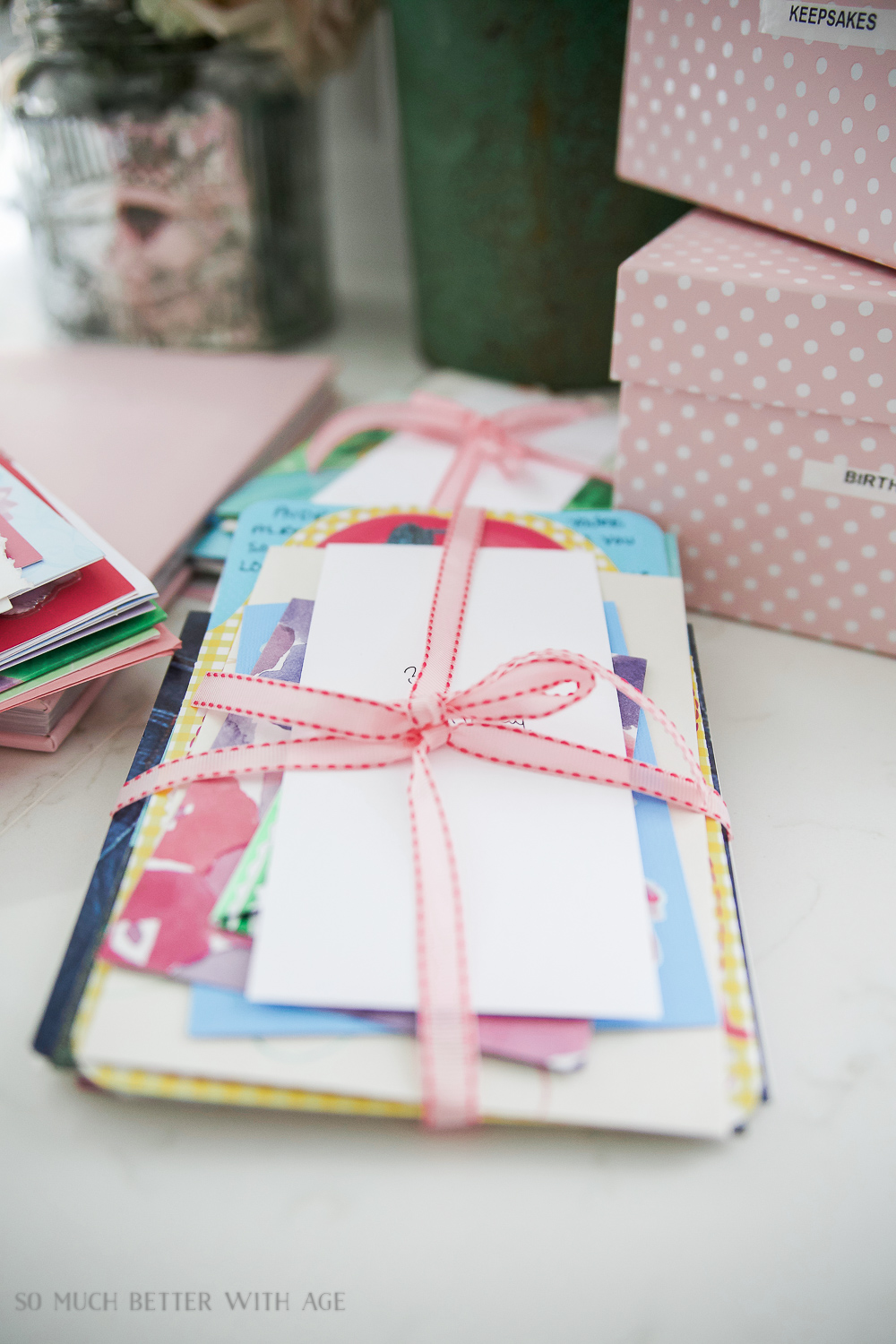 Organizing Kids Keepsakes (Birthday Cards) Printable/pink ribbon around cards - So Much Better With Age