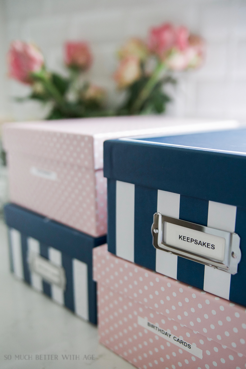 Organizing Kids Keepsakes (Birthday Cards) Printable/blue striped photo boxes - So Much Better With Age