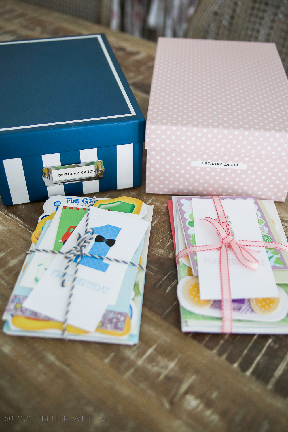 How to Organize Kids' Keepsakes - birthday cards with free printable