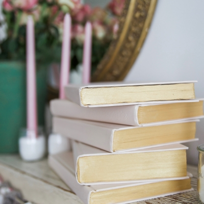 Painted Pink and Metallic Gold Books