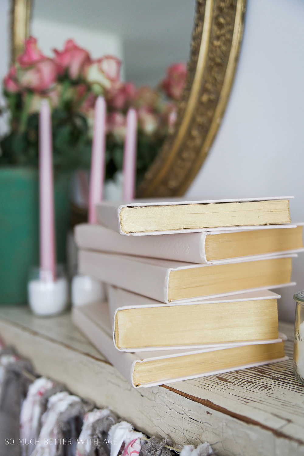 Painted Pink and Metallic Gold Books for Valentine's Day/ pink books and candles- So Much Better With Age