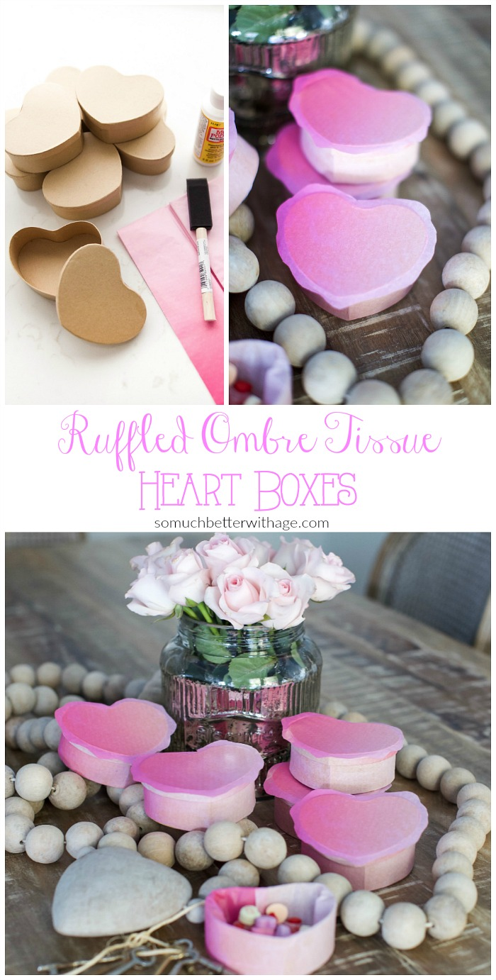 DIY ruffled ombre tissue boxes for Valentine's Day
