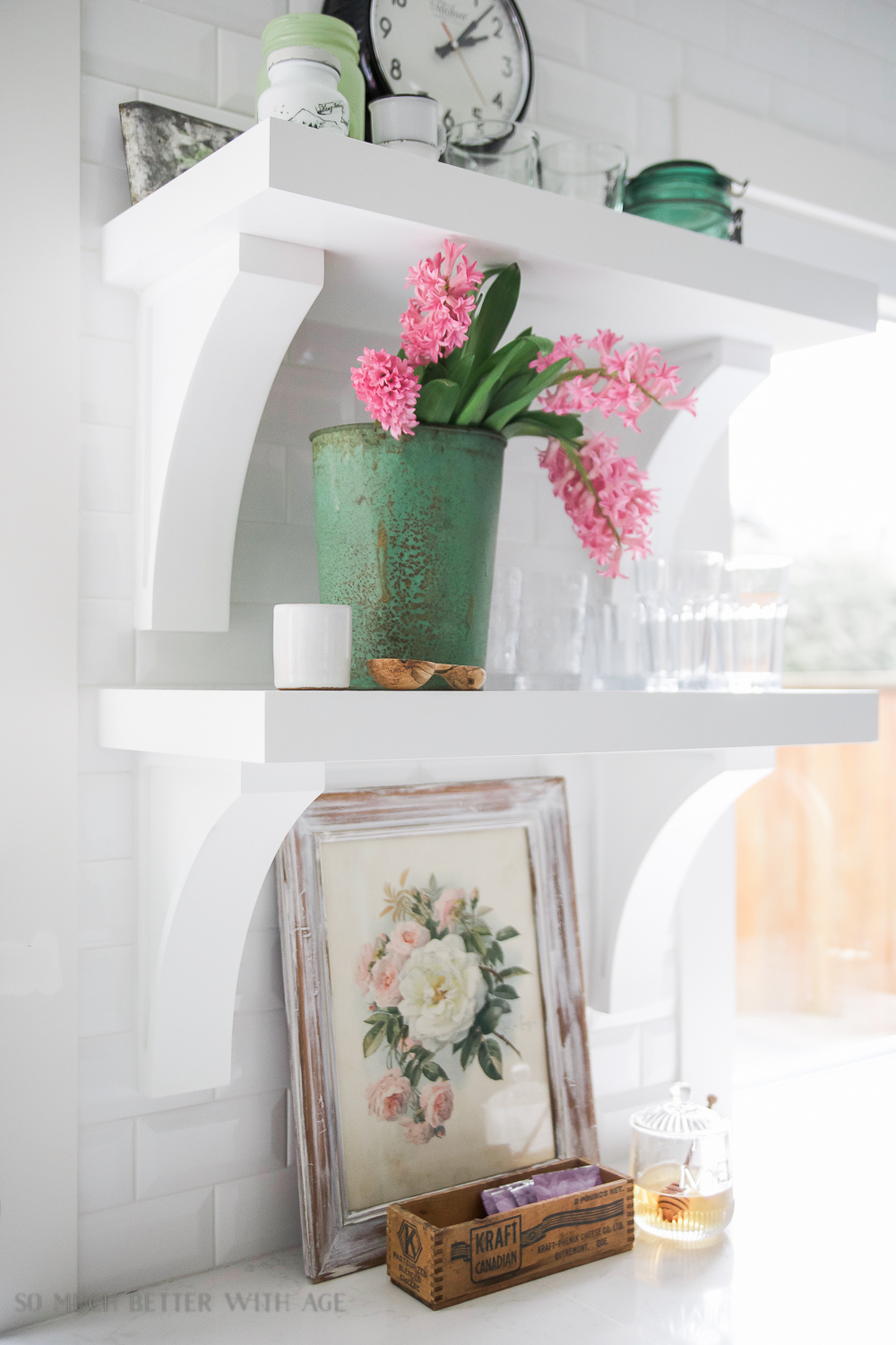 Vintage floral artwork, How to Pick Art with a French Vintage Vibe / art on shelves in kitchen - So Much Better With Age