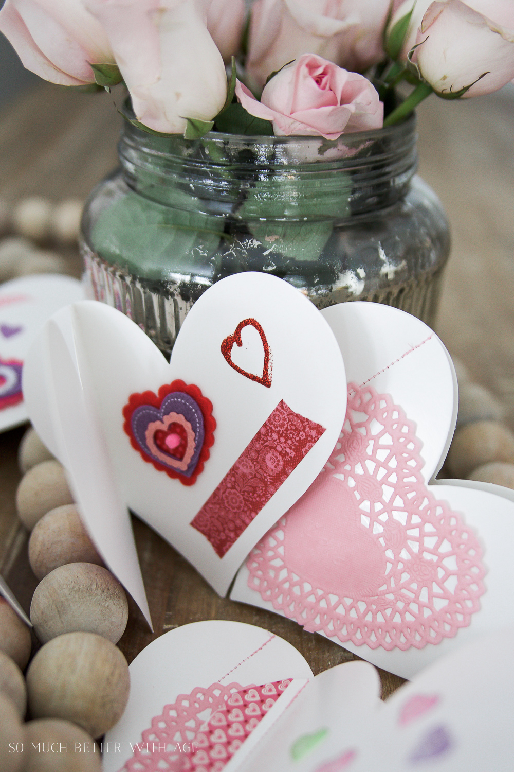 DIY stitched Valentine's Day cards / homemade cards with pink flowers in vase - So Much Better With Age