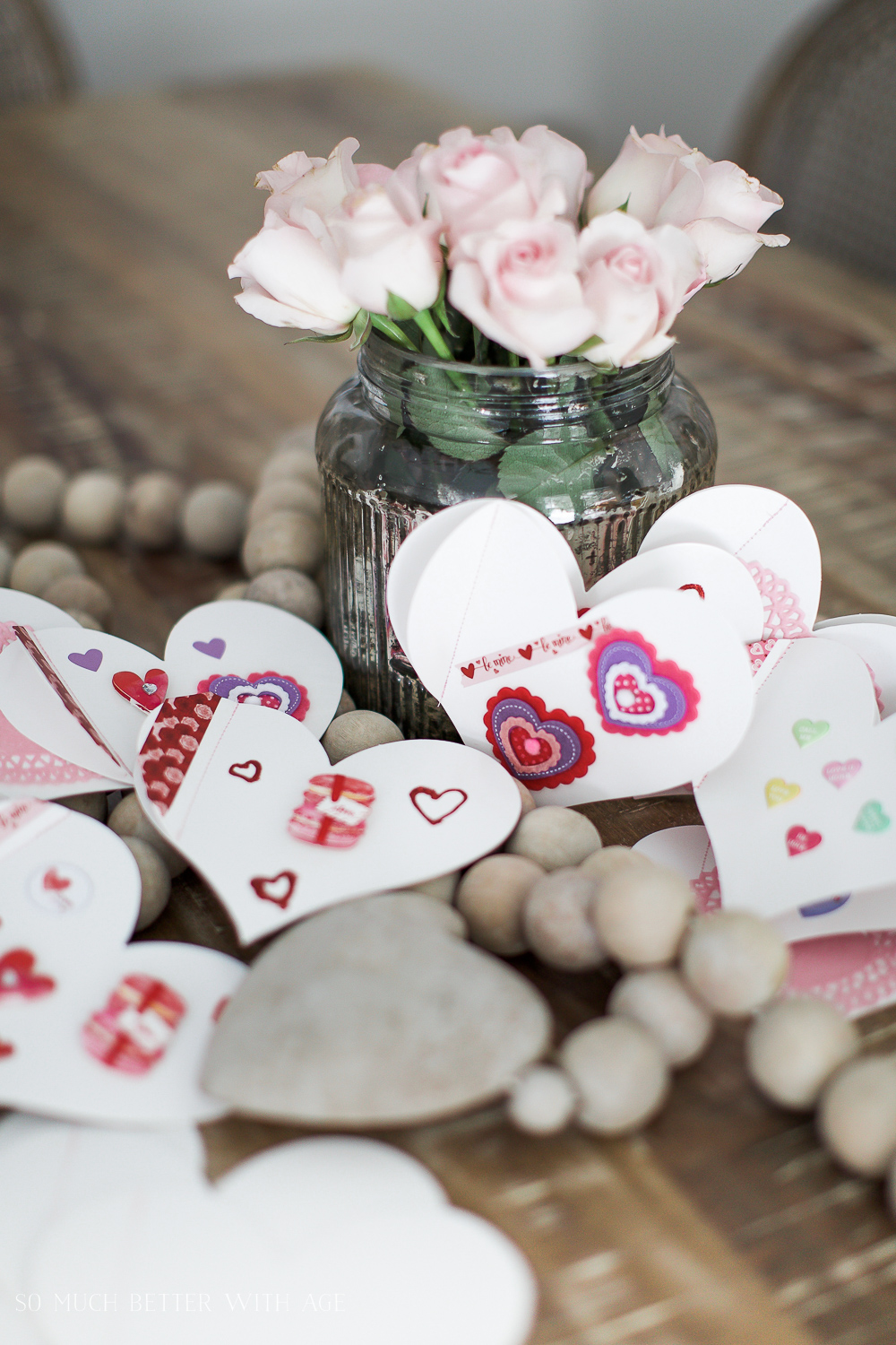 DIY stitched Valentine's Day cards / cards with flowers in vase - So Much Better With Age