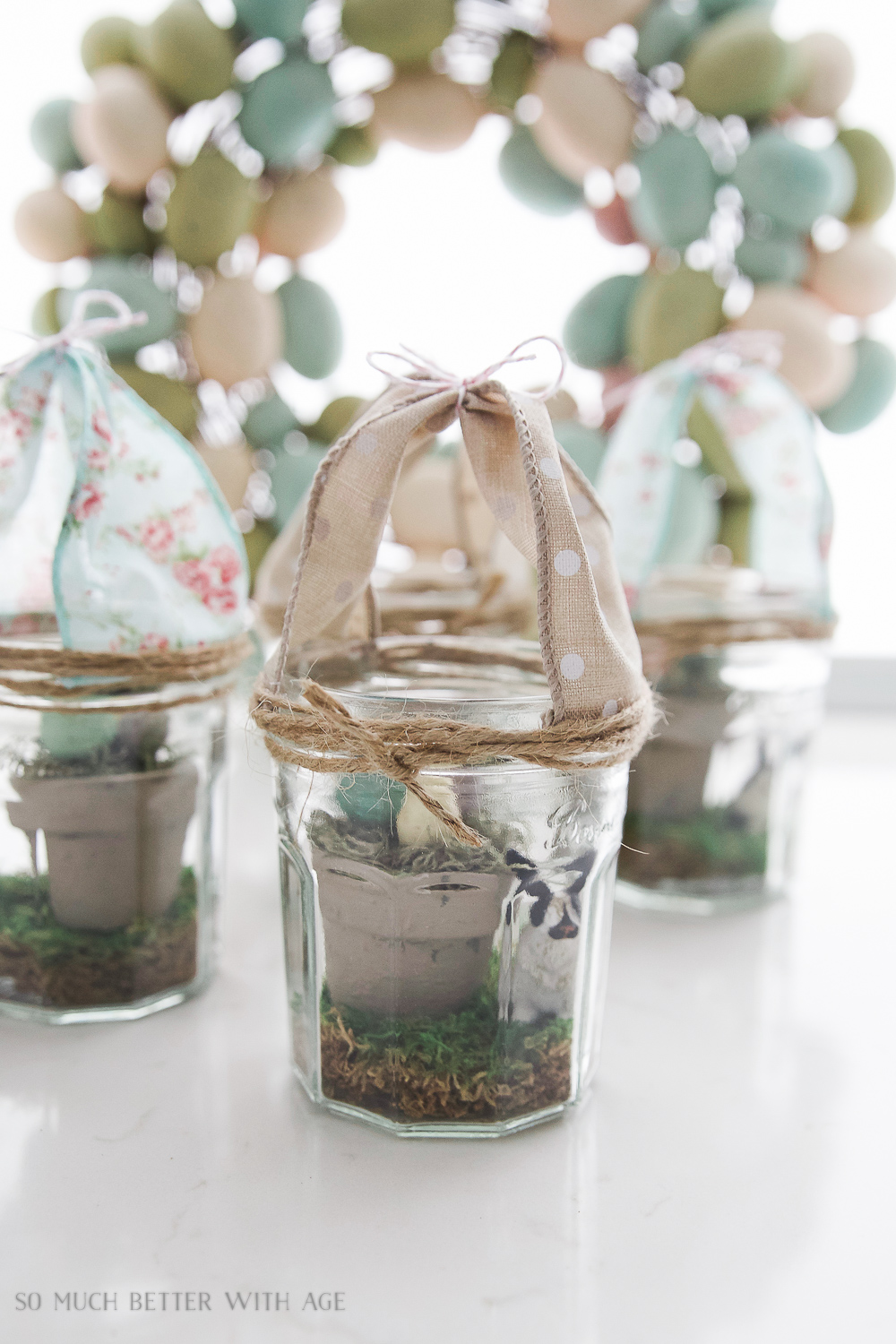 Glass Easter Jars with Bunny Ears / decorated glass jars - So Much Better With Age