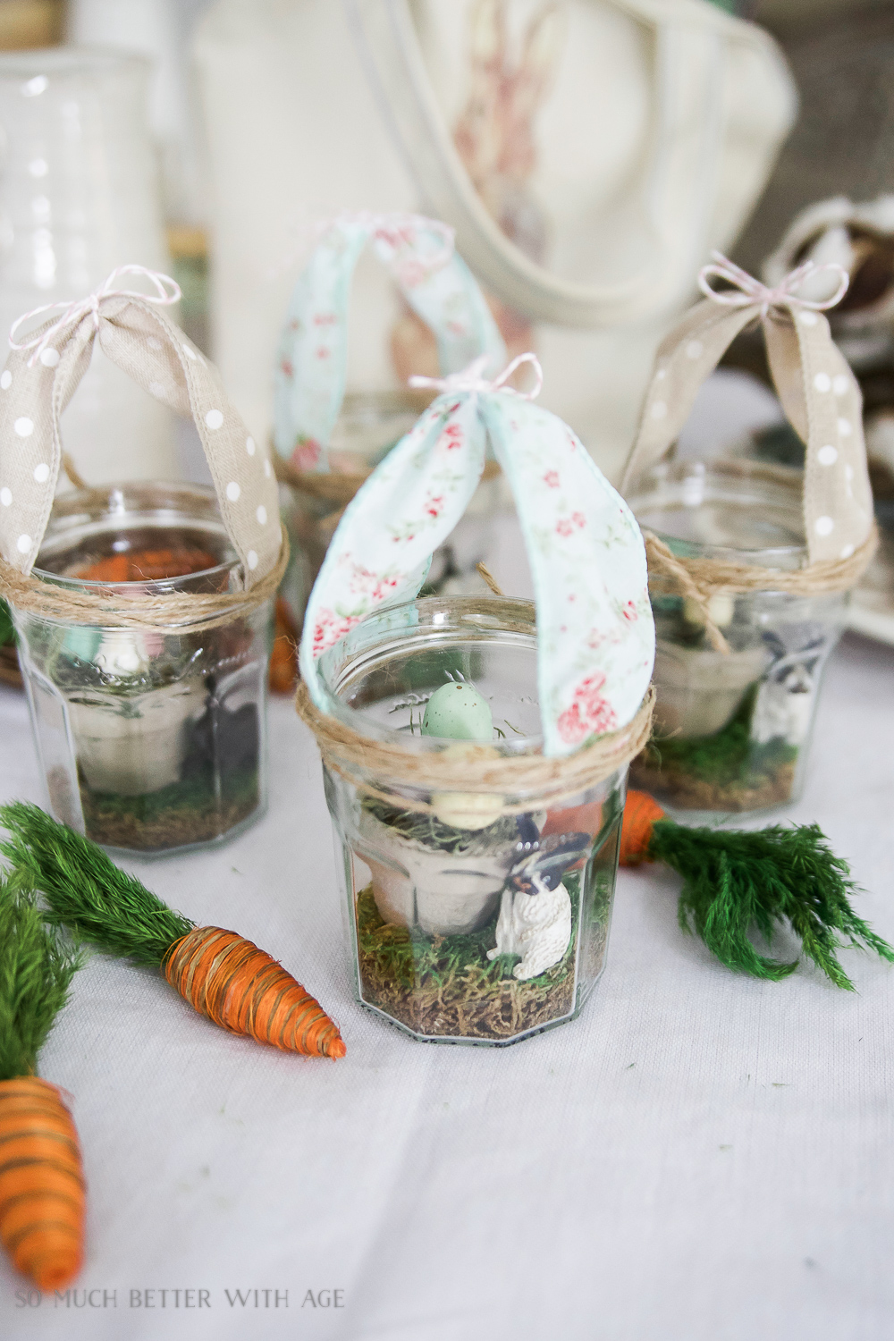 Glass Easter Jars with Bunny Ears / pretty decorated glass jars on table - So Much Better With Age