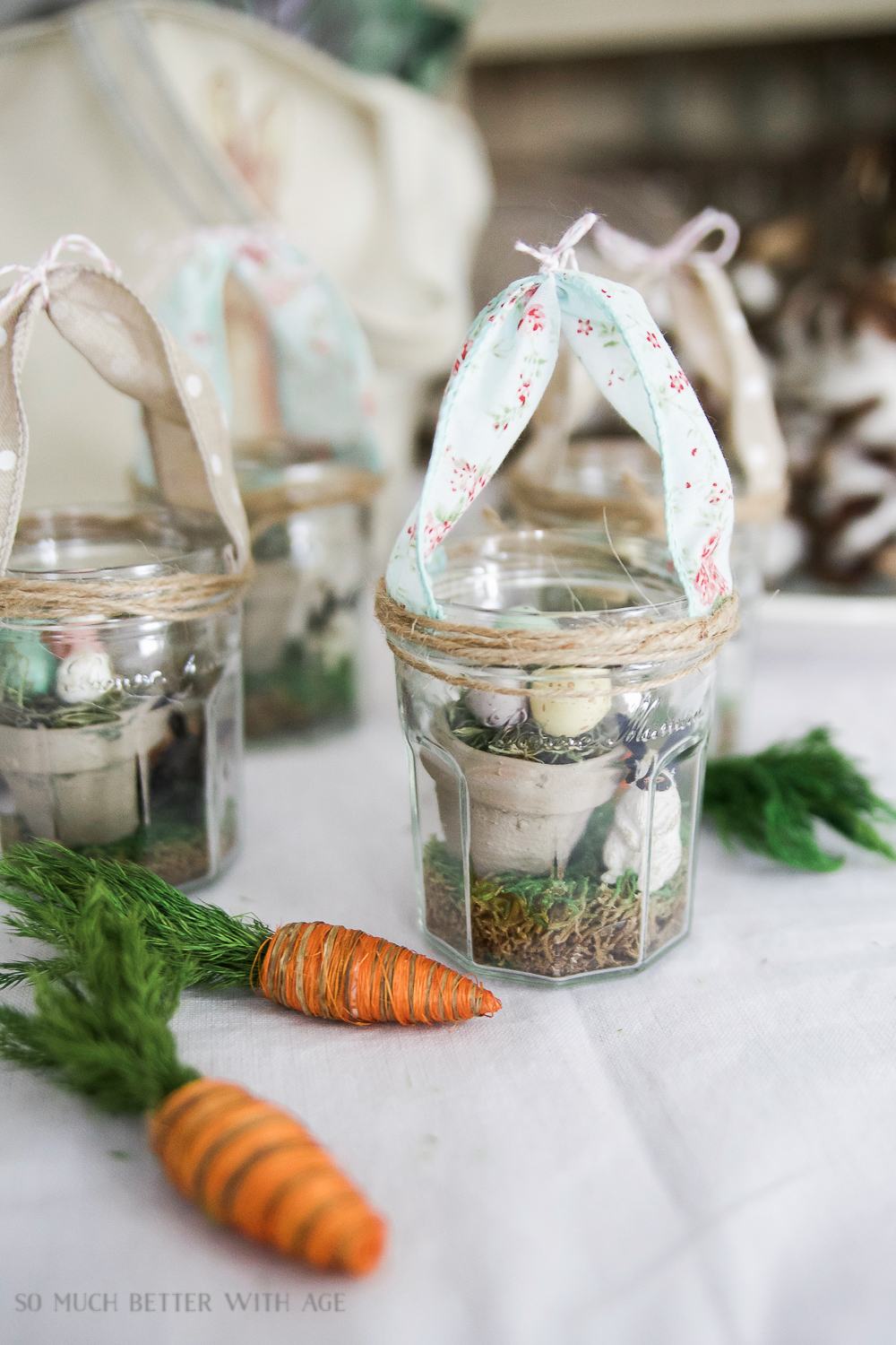 Glass Easter Jars with Bunny Ears / jar with fake carrot on table - So Much Better With Age
