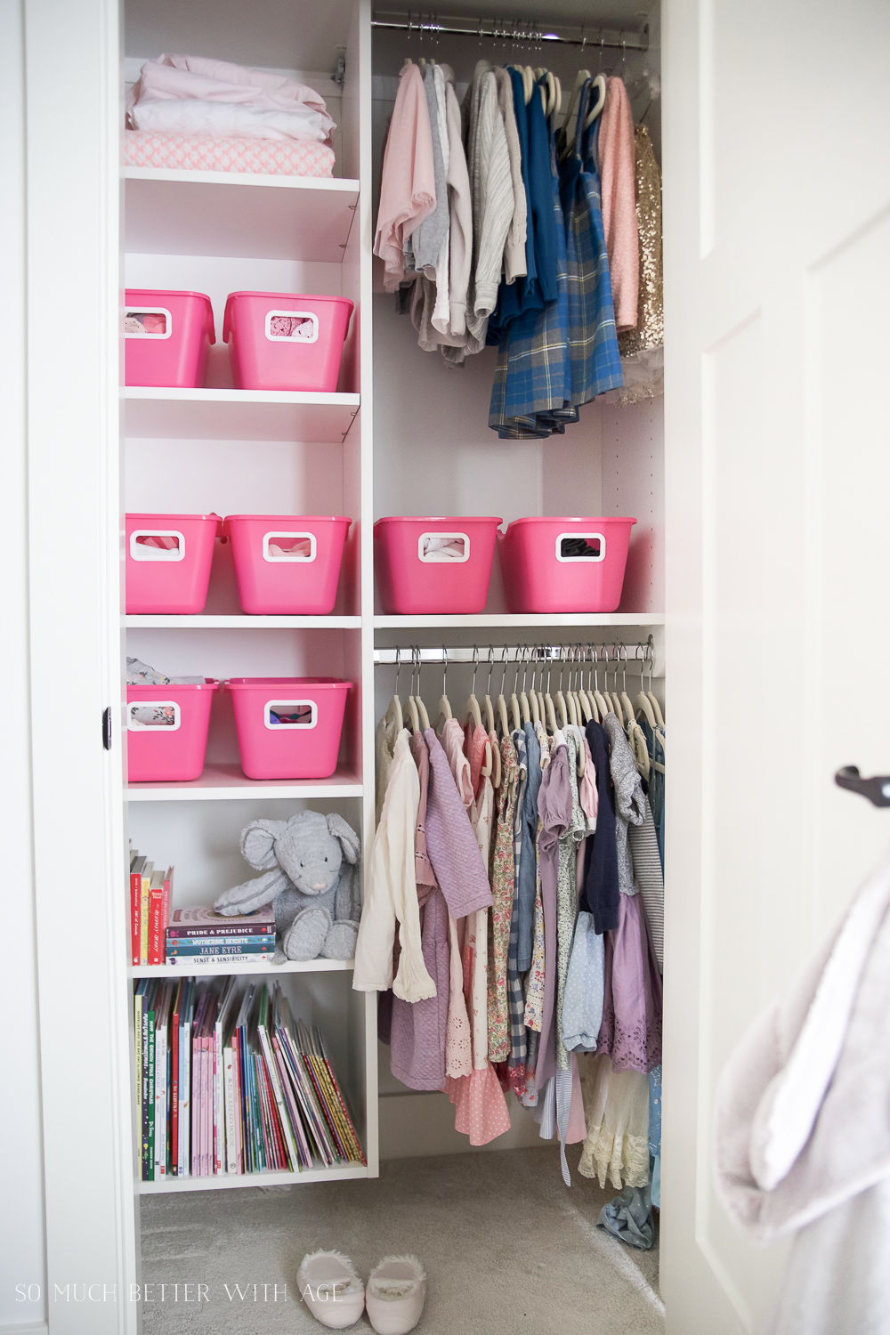 Kids Closet Organization with Dollar Store Bins/pink bins in closet - So Much Better With Age