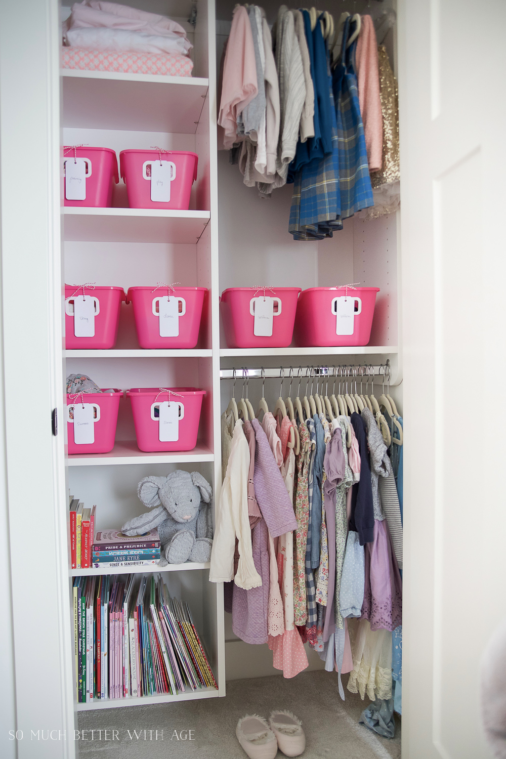 Kids Closet Organization with Dollar Store Bins/dresses hanging in closet - So Much Better With Age