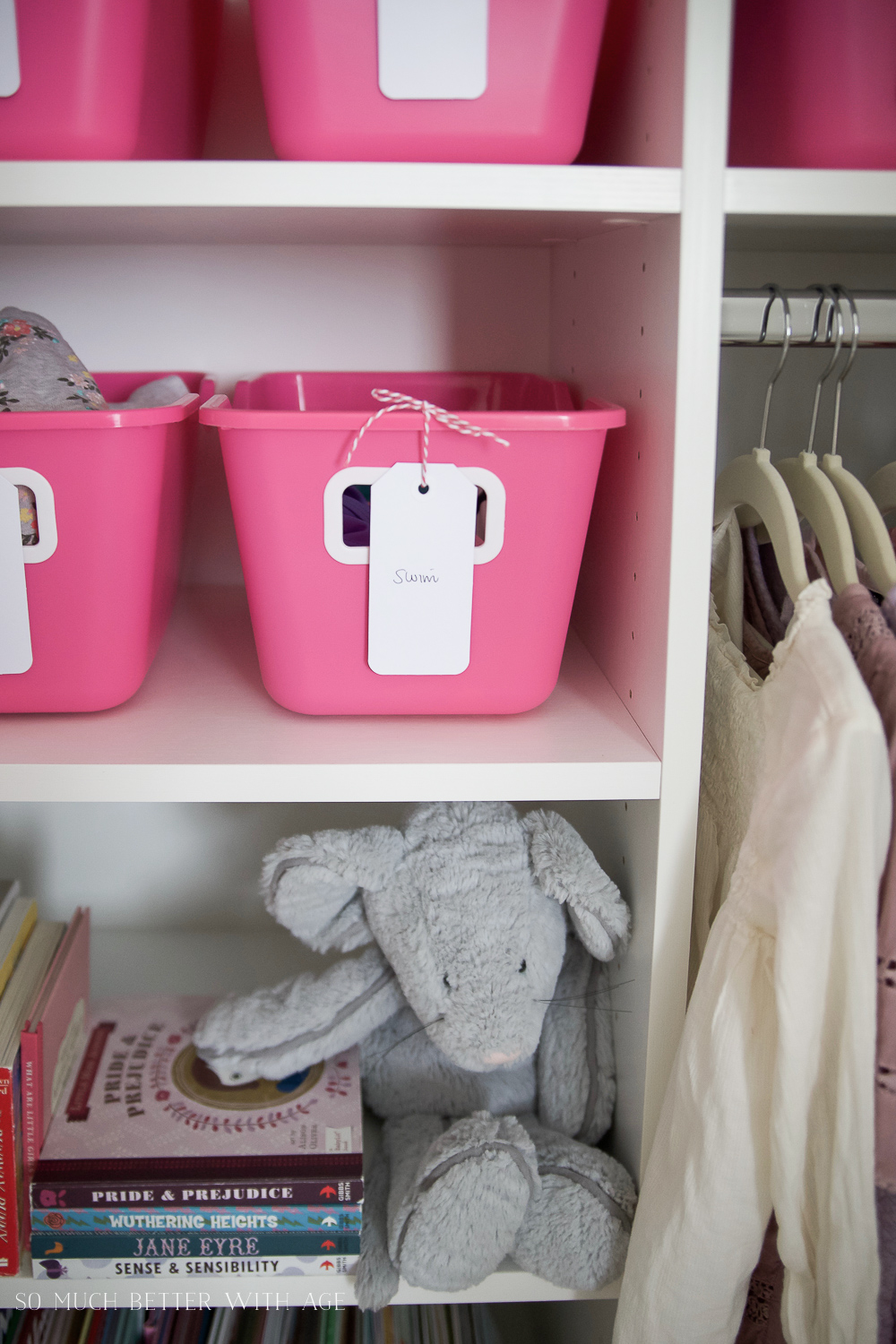 Kids Closet Organization with Dollar Store Bins - So Much Better With Age