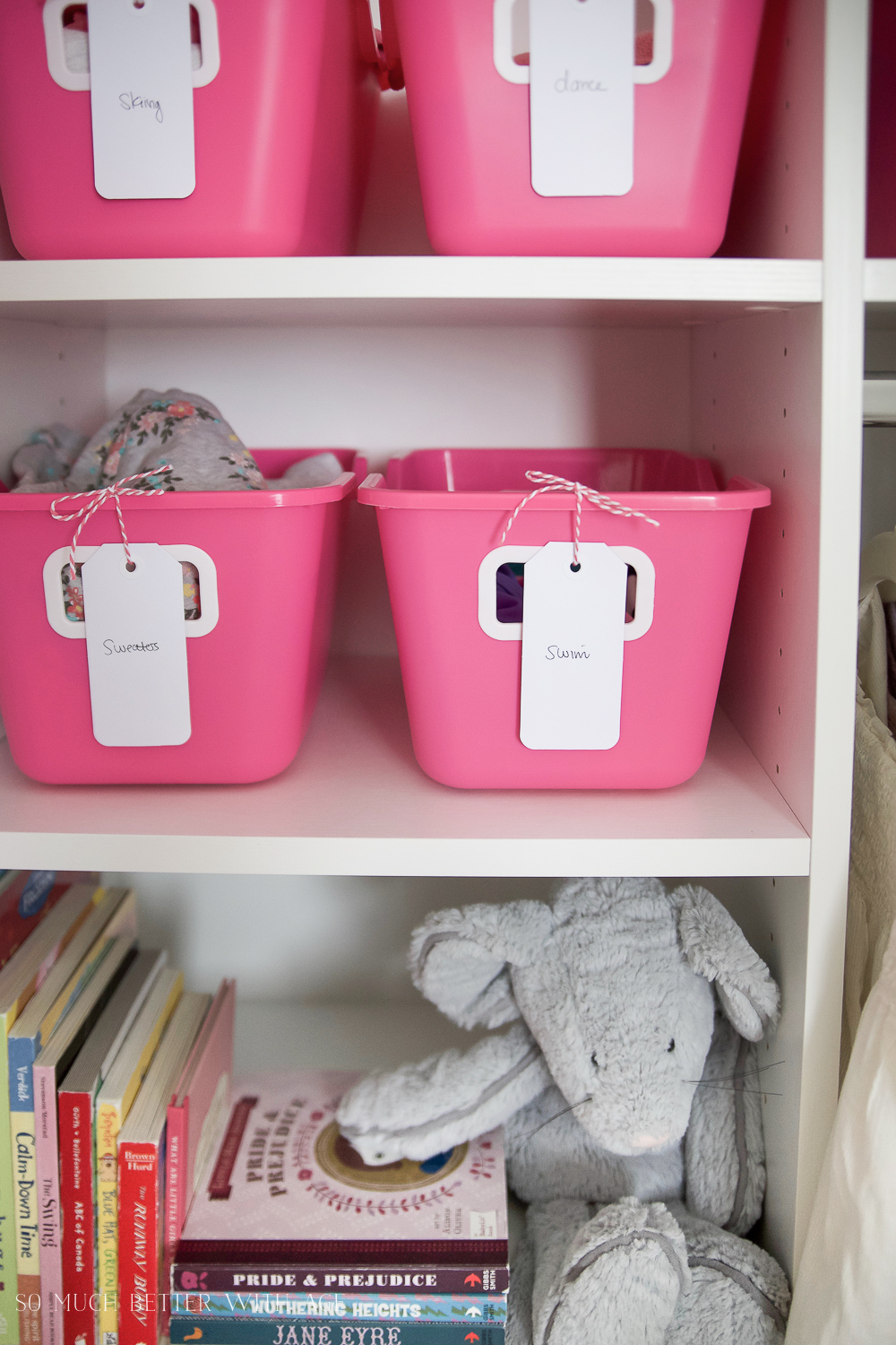 Kids Closet Organization with Dollar Store Bins/pink storage bins - So Much Better With Age