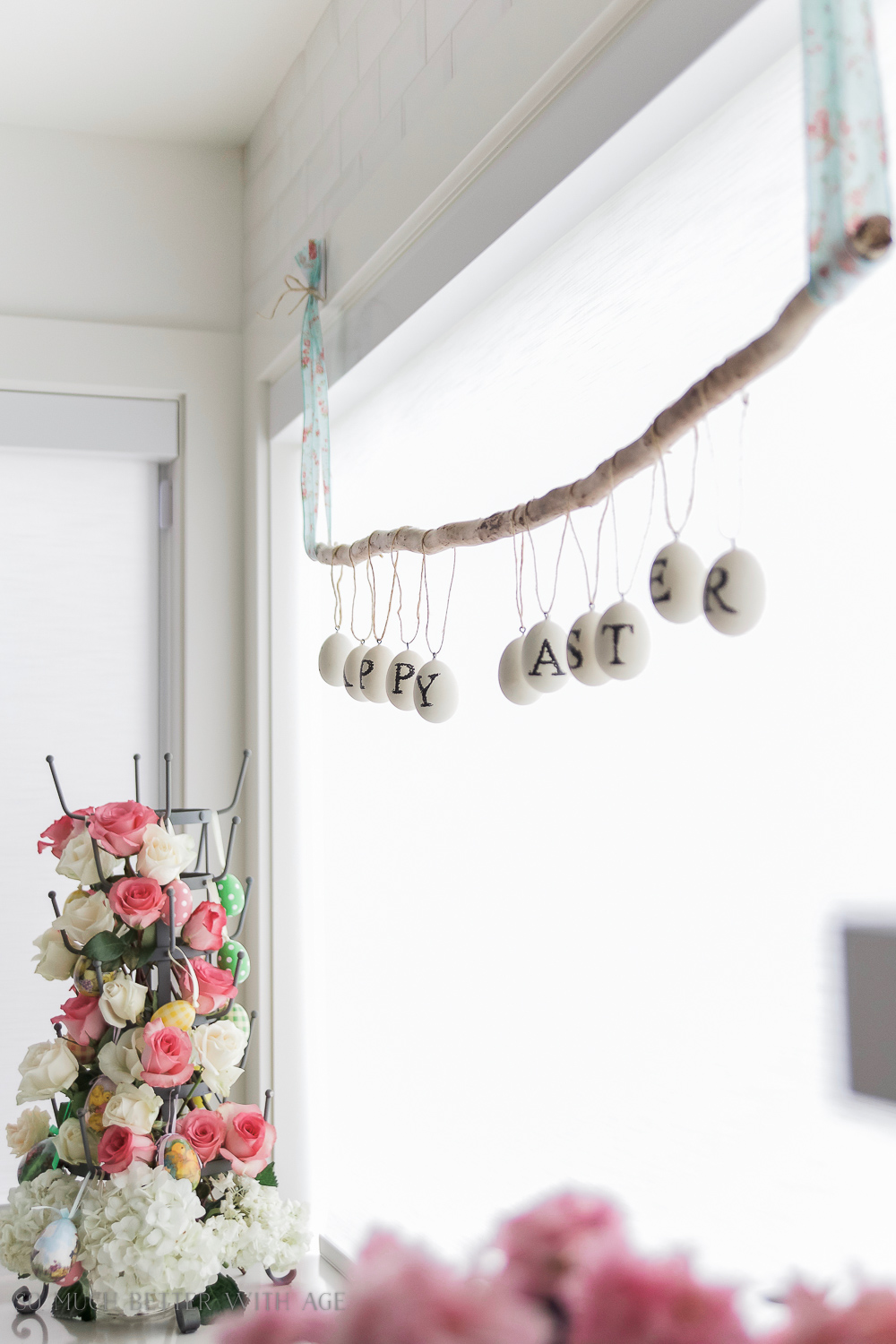 Easter Egg Stick Garland/spring decor in the kitchen - So Much Better With Age