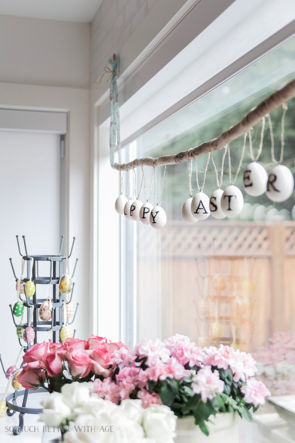 Easter Egg Stick Garland / pretty spring flowers - So Much Better With Age