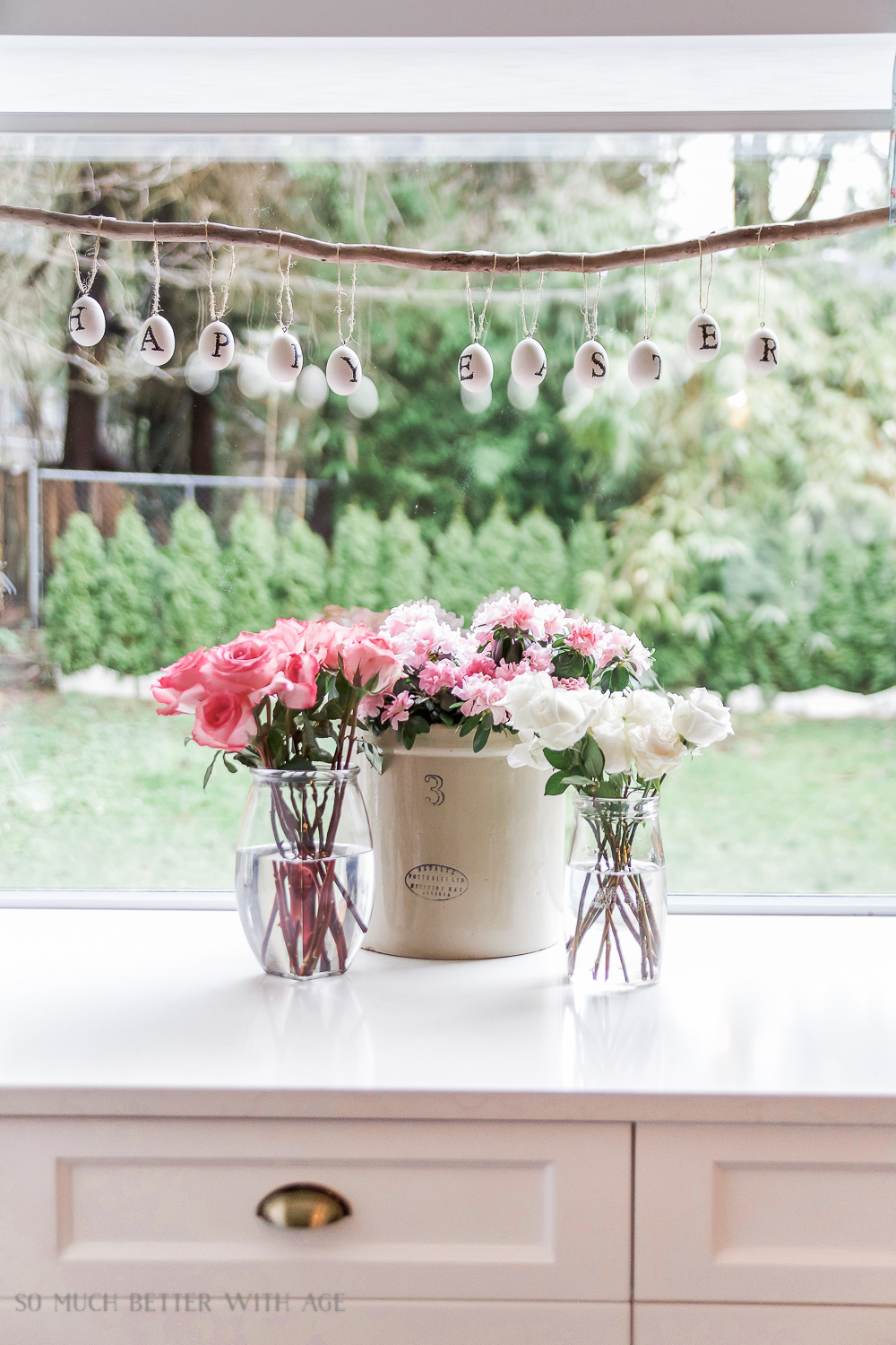 Spring Flower Home Tour + French Bottle Drying Rack Floral Centrepiece - So Much Better With Age