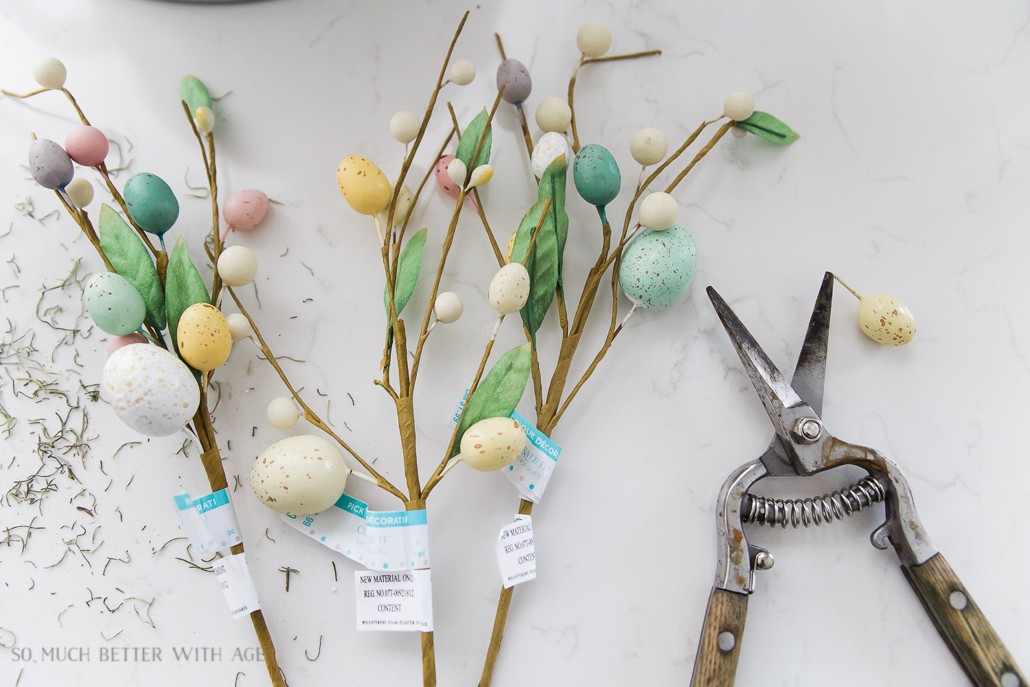 Glass Easter Jars with Bunny Ears / snipping the fake eggs off the branches - So Much Better With Age