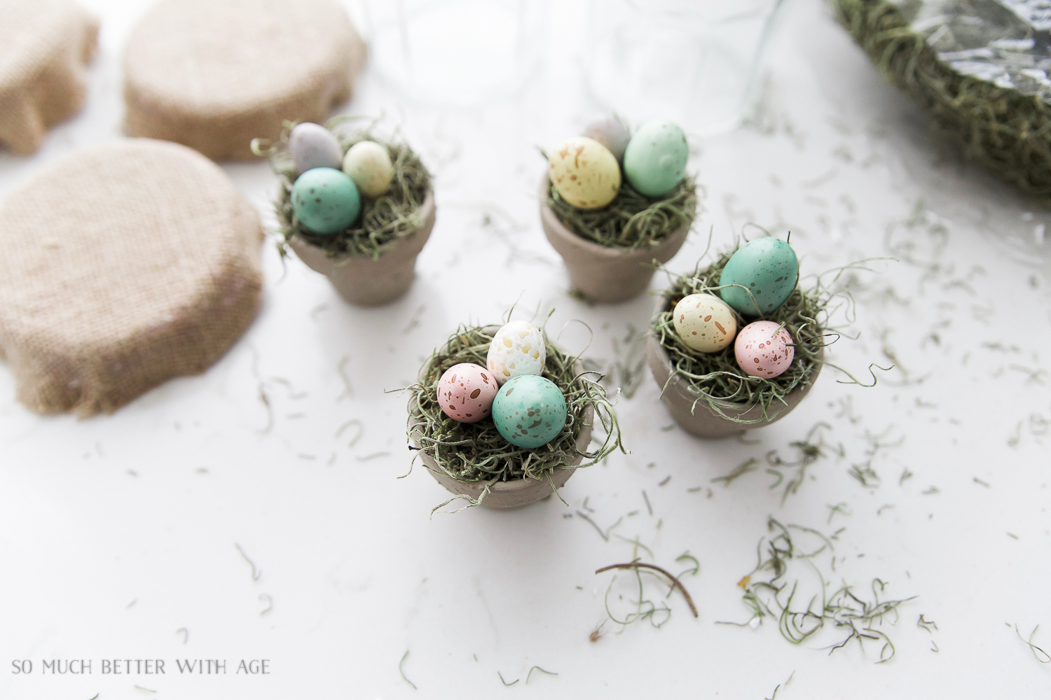 Glass Easter Jars with Bunny Ears / gluing the eggs into the pot - So Much Better With Age