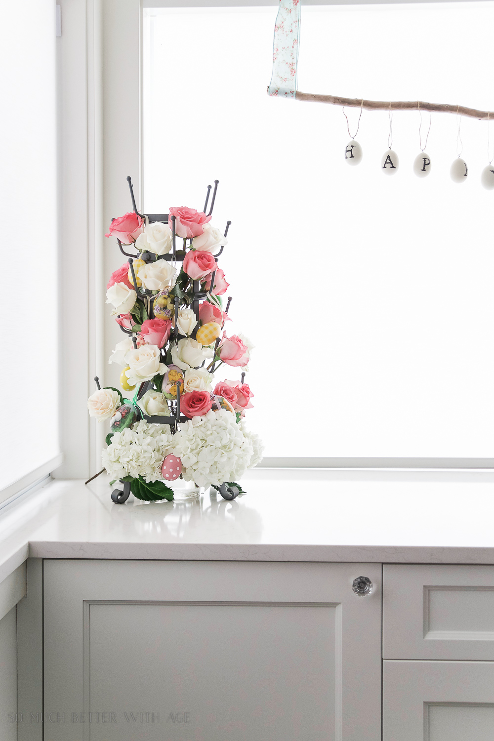 Spring Flower Home Tour + French Bottle Drying Rack Floral Centrepiece