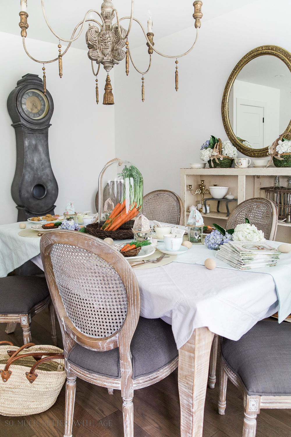 12 Creative Easter Decorating Ideas/Peter Rabbit inspired Easter table - So Much Better With Age