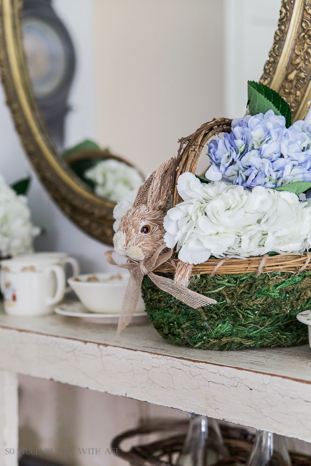 12 Creative Easter Decorating Ideas/bunny wicker basket - So Much Better With Age