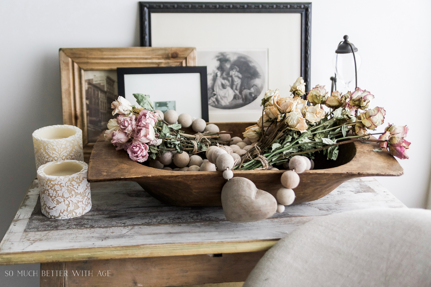 Black & white engravings, How to Pick Art with a French Vintage Vibe / dried flowers - So Much Better With Age