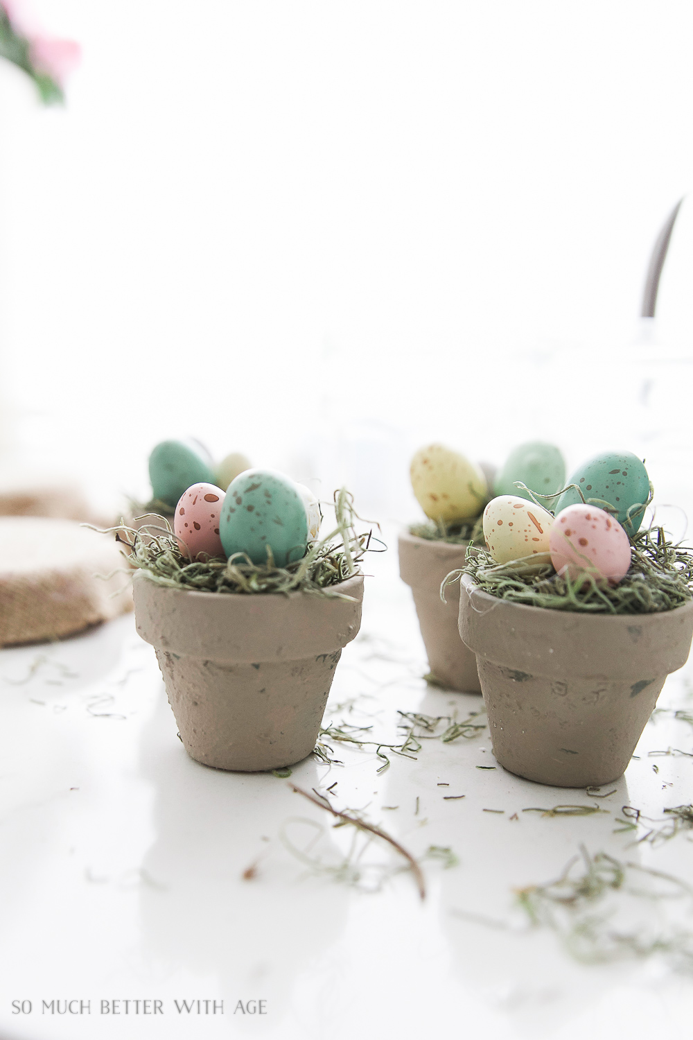 Glass Easter Jars with Bunny Ears / pretty eggs in pot - So Much Better With Age