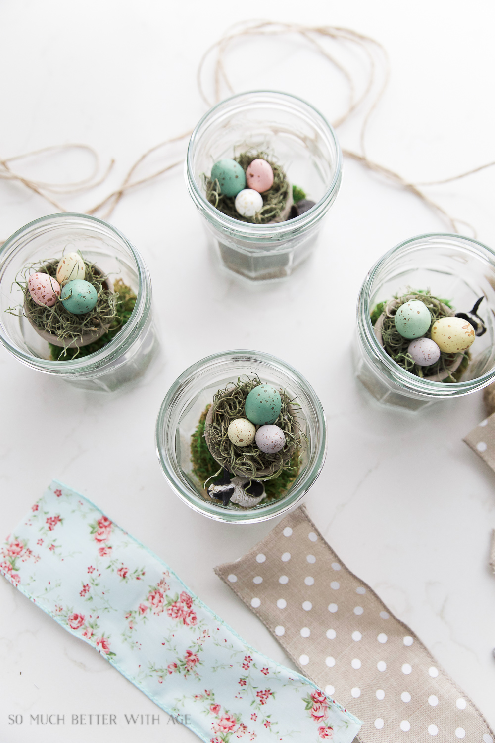 Glass Easter Jars with Bunny Ears / putting the eggs into the glass jars - So Much Better With Age