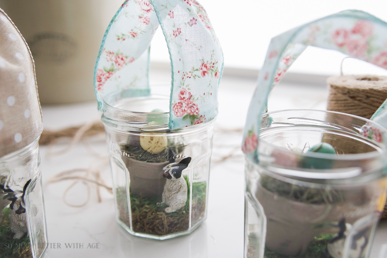 Glass Easter Jars with Bunny Ears / gluing the ribbon to the glass jars - So Much Better With Age