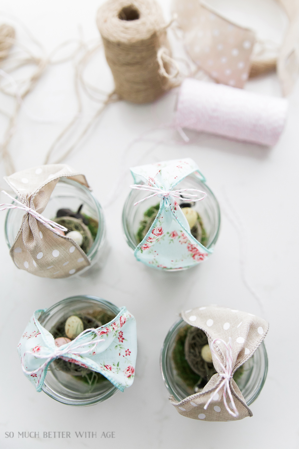 Glass Easter Jars with Bunny Ears / cutting off the extra twine - So Much Better With Age