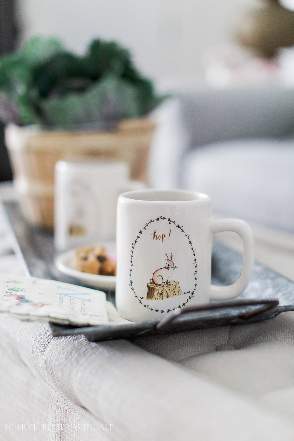 Easter Egg Stick Decor & French Vintage Spring Tour / Easter mugs - So Much Better With Age