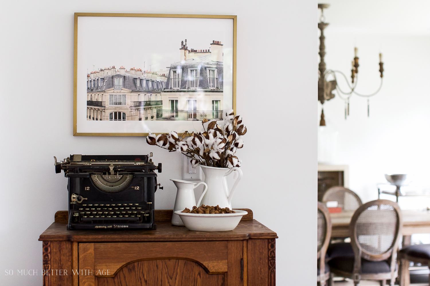 Paris Building, How to Pick Art with a French Vintage Vibe / typewriter picture and vase - So Much Better With Age