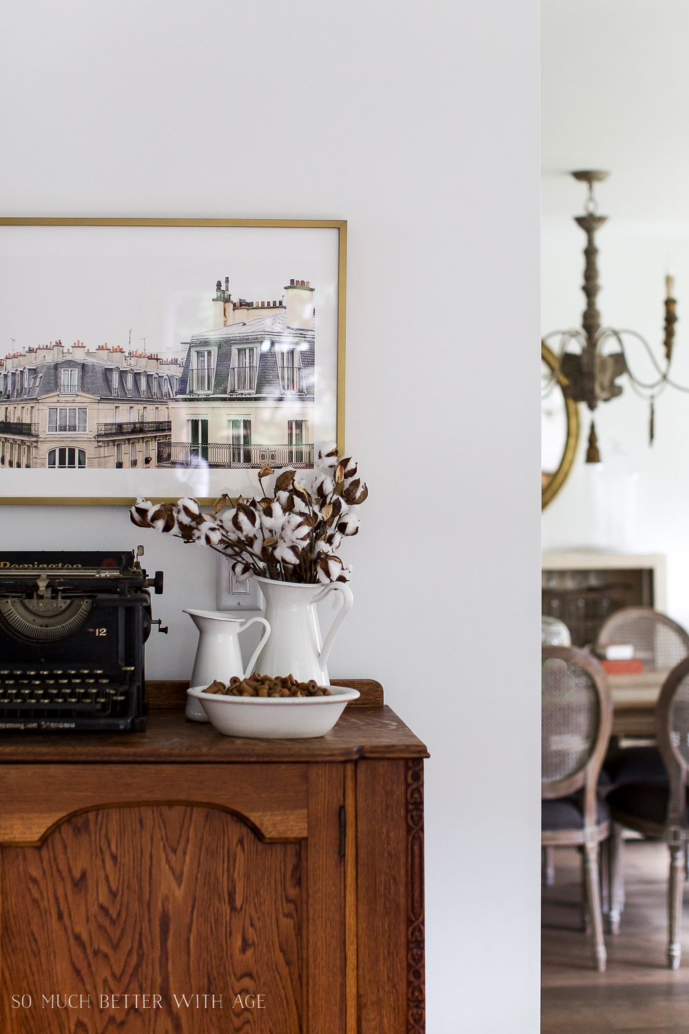 Paris Building, How to Pick Art with a French Vintage Vibe / peek of dining room  - So Much Better With Age