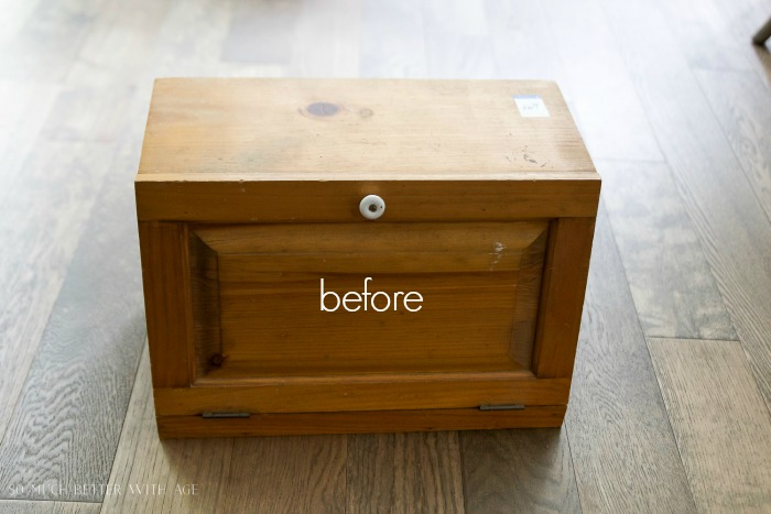 Bread Box to Letter Box - Why I Always Look for Wood at Thrift Stores / before picture of wooden box - So Much Better With Age