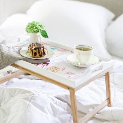 Mother's Day Breakfast-in-Bed Tray with Decoupaged Kids' Art