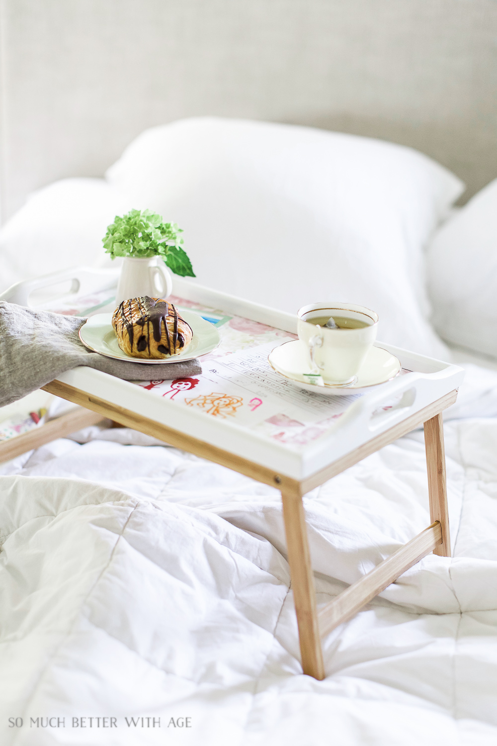 Mother's Day breakfast-in-bed tray with decoupaged kids' art / teacup and chocolate croissant - So Much Better With Age